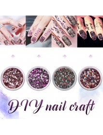 10ml Set Of 4 Bottles Of Ultra-fine Glitter Ultra-thin Small Sequin Gradient Color Nail Glitter Set