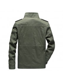 Mens Military Multi Pockets Epaulet Solid Color Cotton Cargo Work Jacket