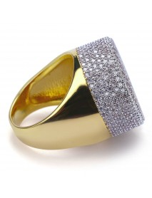 Gold Cluster Ice Out Diamond Band Micropave Men's Bling Ring Hip Hop Jewelry