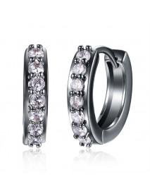INALIS Circle Crystal Hoop Earring Gun Black Plated Anallergic Earrings for Women