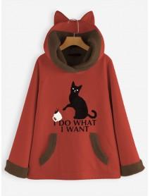 Cartoon Cat Print Thicken Fleece Hooded Sweatshirt Coats