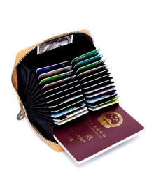 Genuine Leather RFID 24 Card Slot Large Capacity Card Holder Passport Case For Men Women