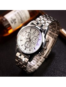 Casual Style Men Wrist Watch Full Steel Band Decorative Dial Quartz Watches