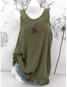 Plus Size Cotton Pure Color Lace Hem Tank Tops