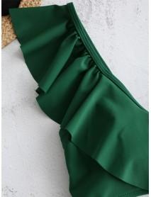 Floral Printed High Waist Sleeveless Ruffle Backless Tankinis Swimwear