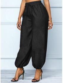 Casual Women Sides Pockets Elastic Waist Harem Denim Jeans