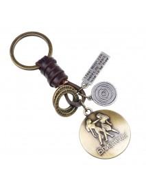 Retro Twelve constellation Woven Keychain Soft Leather Cord Keychain For Men
