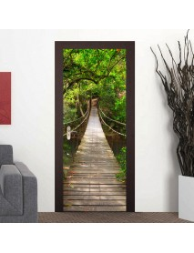 200X77CM 3D Wood Bridge PVC Self Adhesive Door Wall Sticker Living Room Mural Forest Bridge Decor