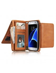 Bakeey Multifunctional Detachable Zipper Wallet Pocket Bracket PU Leather Case For Samsung Galaxy S7