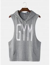 Men Fashion Letter Print Hooded Sleeveless Pocket Solid Color Sport Tops