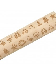 Loskii JM01687 Wooden Christmas Embossed Rolling Pin Dough Stick Baking Pastry Tool New Year Christmas Decoration