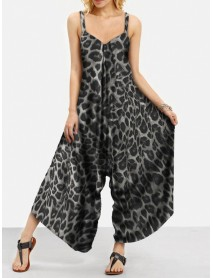Animal Leopard Print Wide Leg Loose Irregular Hem Casual Jumpsuits