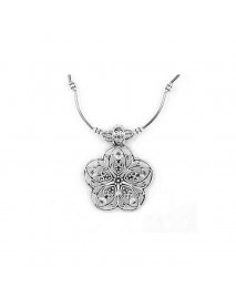 Ethnic Tibetan Hollow Flower Pendant Necklace Antique Silver Necklace Sweater Necklace For Women