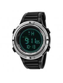 SANDA 360 Digital Watch Men Fashion Silicone Strap Calendar Luminous Display Outdoor Sport Watch