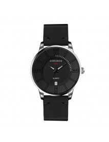 CHRONOS Casual Style Date Display Men Wrist Watch Colorful Leather Strap Quartz Watches