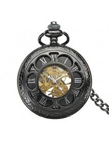 DEFFRUN Antique Steampunk Hollow Mechanical Pendant Pocket Watch