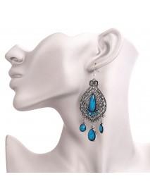 Bohemian Hollow Ear Drop Earring Elegant Leaf Rhinestone Tassels Earrings Ethnic Jeweley for Women