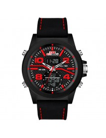 KAT-WACH KT715 Dual Display Digital Watch Large Numbers Leather Chronograph Men Outdoor Sport Watch