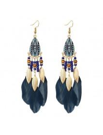 Bohemian Feather Drop Earrings Long-Style Tassels Earring Retro Women Ear Drop