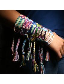 Bohemian Charm Bracelet Vintage Hand Wave Tassels Jewelry Colorful Bracelets for Women Men