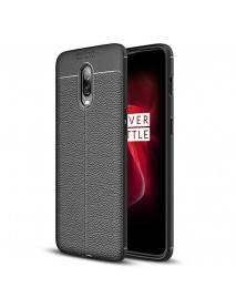Bakeey Litchi Pattern Shockproof Soft TPU Back Cover Protective Case for OnePlus 6T