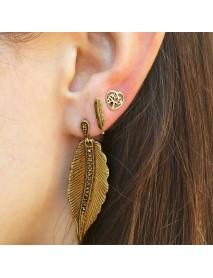 Elegant A Set of Ear Drop Stud Leaves Heart Hollow Earring Fashion Jewelry Set Gift for Women