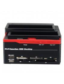 2.5/3.5 SATA IDE HDD Docking Station Clone Backup Hard Drive Enclosure USB2.0 HUB Card Reader EU
