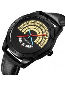CRRJU 2140 Men Creative Dial Date Display Fashion Waterproof Quartz Watch