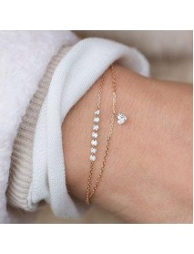 Trendy Heart Crystal Charm Bracelet Multilayer Bridal Wedding Crystal Bracelets for Women