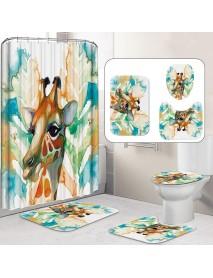 1/3/4 Pcs Giraffe Waterproof Bathroom Shower Curtain Toilet Cover Mat Nonslip Rug Set Bath accessories