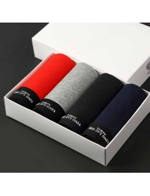 4 Pieces Cotton Comfy Breathable U Convex Boxer Briefs for Men