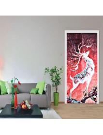 3D Door Wall Sticker Fridge Deer Waterproof Sticker Self Adhesive Paper Wrap Mural Decal