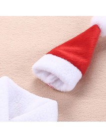 Christmas Red W-ine Bottles Covers Clothes With Hats Santa Claus Button Decor Bottle Cover Cap Kitchen