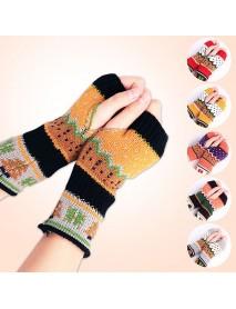Women Christmas Winter Warm Knitting Fingerless Gloves For Christmas Gift