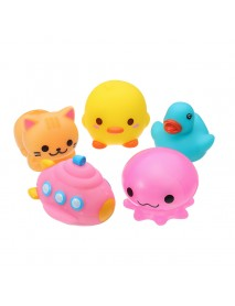 5PCS Baby Bath Toys Rubber Duck Animals Boat Kids Water Toys Squeeze Flash Bathroom Beach Play Toys