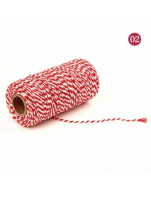 2mm 100m Two-Tone Cotton Rope DIY Handcraft Materials Cotton Twisted Rope Gift Decor Rope Brush