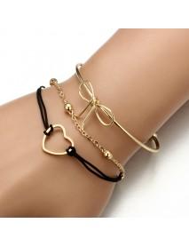 3Pcs Designer Bracelet Sets Bowknot Heart Gold Charming Chain Bracelets for Women
