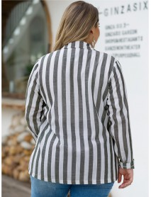 Plus Size Stripe Turn-down Collar Women Casual Blazer Coats