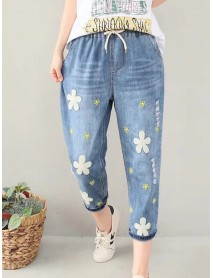 Casual Flower Embroidery Elastic Waist Blue Denim Jeans
