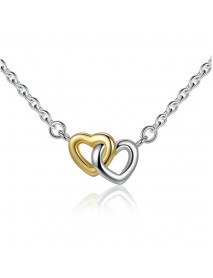 Classic Heart Pendant Necklace Silver Gold Heart to Heart Bridal Wedding Necklace for Women