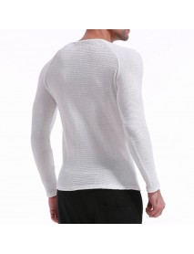INCERUN Mens O Neck Pullover Solid Color Long Sleeve Slim Fit Top T-shirts