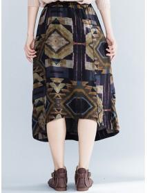 Ethnic Geometric Floral Printed Elastic Waist A-Line Vintage Skirts