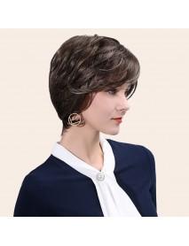 Real Hair Length 10 Inches Brown Mixed Color Short Hair Short Bangs Realistic And Natural