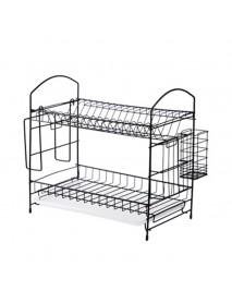 Drain rack Dish Rak Kitchen Storage Rack Organizer Mental Iron Design Easy Assemble 2 Tiers For kitchen Home Office