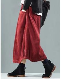 Women Vintage Corduroy Elastic Waist Baggy Winter Skirts