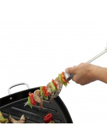 BOLEEFUN 6PCS Reusable Skewers BBQ Removable Forks Pushable Food Skewers for Camping Tool