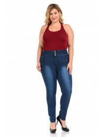 Diamante Women's Jeans - Missy Size - High Waist - Push Up - Style N2816 - Size:10