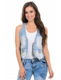 M.Michel Women's Denim Vest - Style 280 - Size:Large