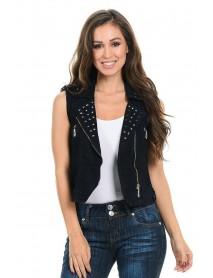 M.Michel Women's Denim Vest - Style 428A - Size:Large