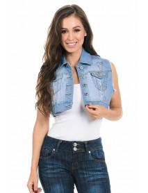 Sweet Look Women's Denim Vest - Style 514B - Size:Large